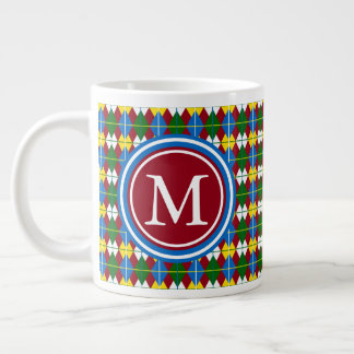School Days Palette Argyle Inspired Monogram Large Coffee Mug