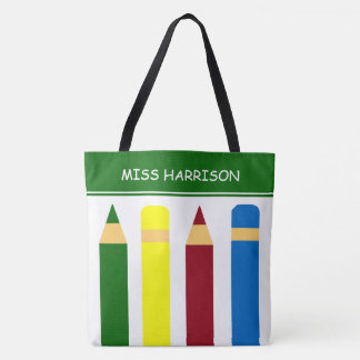 School Days Pencils Personalized Tote Bag