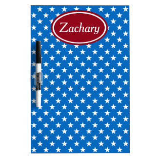 School Days Red and Blue Stars Personalized Dry Erase Boards