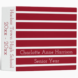 School Days Red and White Stripes Personalized Vinyl Binder