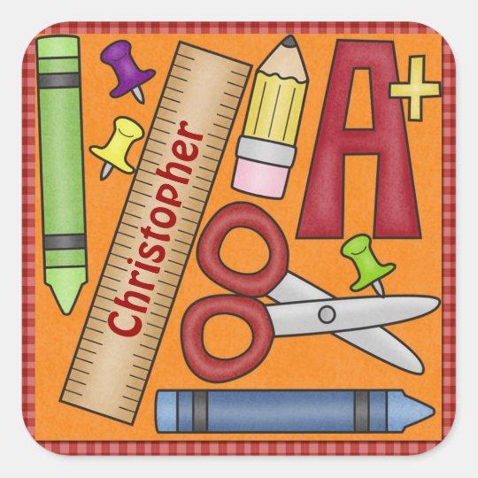 School Days Square Sticker