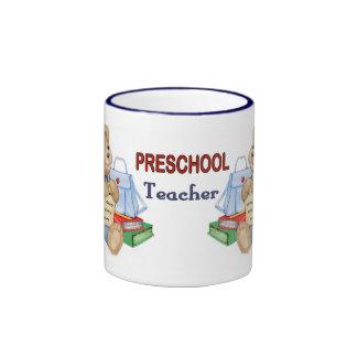 School Days Teddy - Preschool Teacher Ringer Mug