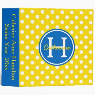 School Days Yellow Blue White Polka Dot Monogram 3 Ring Binders
