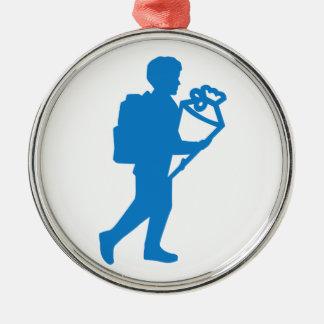 School enrollment boy Silver-Colored round ornament