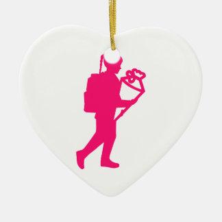 School enrollment girl ceramic heart ornament
