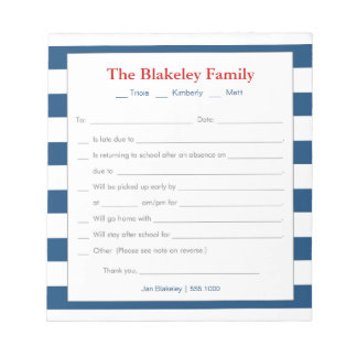 School Excuse Notepad-Personalized, Blue Stripes Notepad