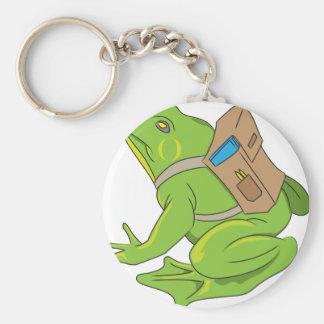 School Frog Basic Round Button Keychain