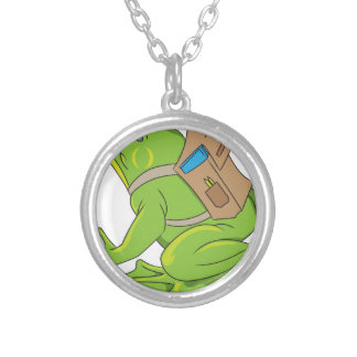 School Frog Silver Plated Necklace