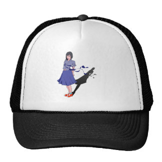 school girl shadowed trucker hat