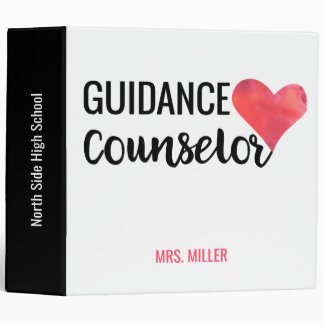 School Guidance Counselor Personalized Red Heart 3 Ring Binders