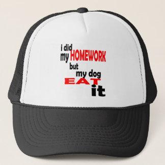 school homework summer quote diligent lazy dog bla trucker hat