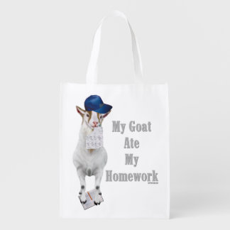 School Humor My Goat Ate My Homework Reusable Grocery Bag