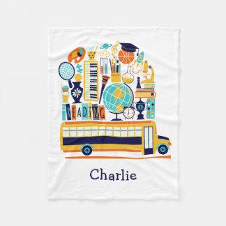 School Illustrations custom name fleece blankets