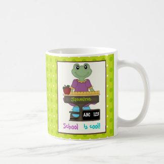 School is cool! Frog at her desk Back to school Basic White Mug