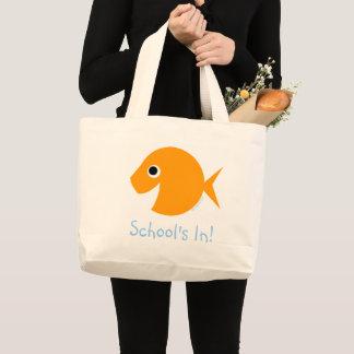 School Is IN Cute Cartoon Goldfish Teacher Saying Large Tote Bag