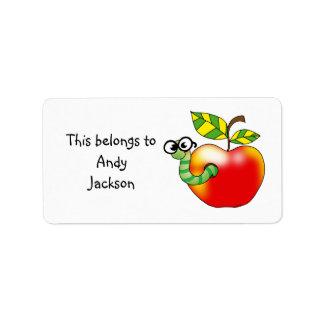 School Labels ( apple bookworm )