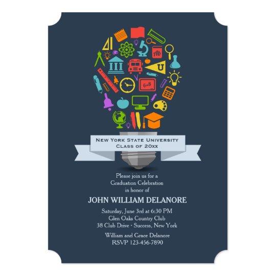 School Light Bulb Graduation Invitation
