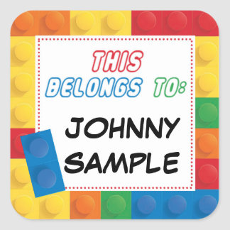 School Name Label Sticker Square Tag Blocks