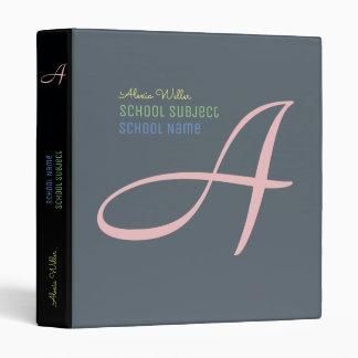 School name & subject monogrammed 3 ring binders