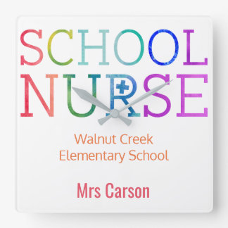School Nurse Colorful Personalized School Square Wall Clock