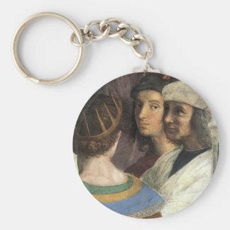 School of Athens by Raphael, Vintage Renaissance Basic Round Button Keychain