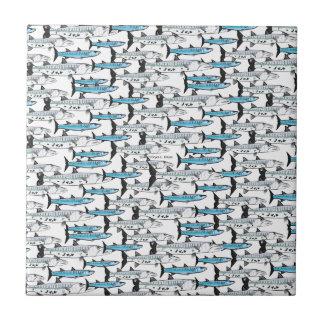 School of Barracuda fish pattern Tile