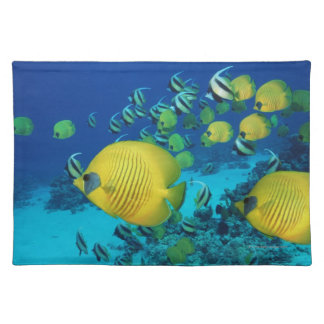 School of Butterfly Fish Swimming on the Seabed Place Mats