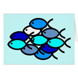 School of Christian Fish Symbols - Blue - Greeting Card