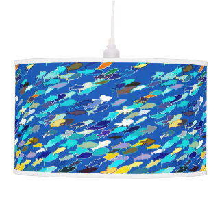 School of fish, dark blue, white, turquoise pendant lamp