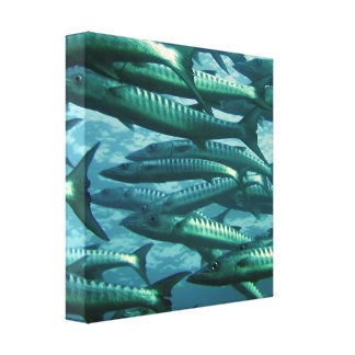 School of Green Fish Canvas Print