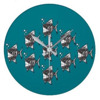 School of Happy Fish Large Clock