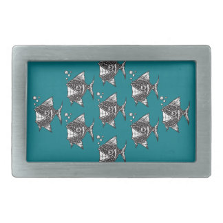 School of Happy Fish Rectangular Belt Buckle