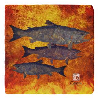 School Of Salmon - Marble Trivet