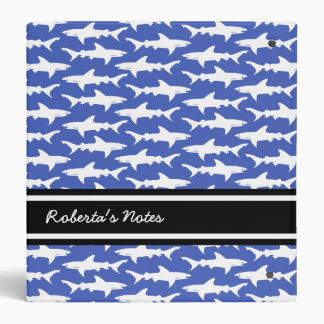 School of Sharks Funny Blue and White Vinyl Binder