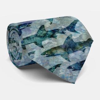 School of Sharks in Watery Blue Tie