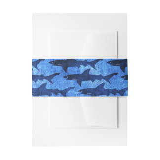 School of Sharks Nautical Invitation Decoration Invitation Belly Band