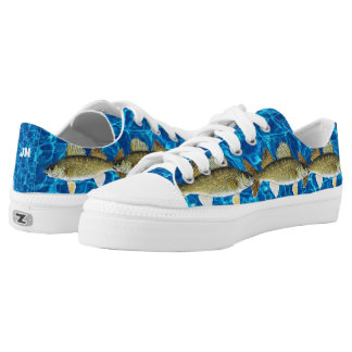 School of Walleyes Swimming in Blue Low-Top Sneakers
