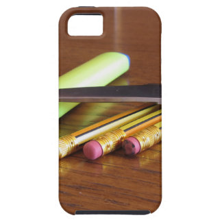 School office supplies on wooden table iPhone 5 cases
