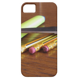 School office supplies on wooden table iPhone 5 covers