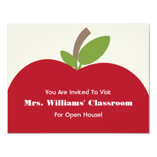 School Open House Invitation - Red Apple