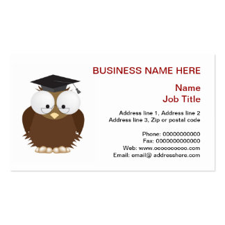 School owl with mortar board stationery business card templates