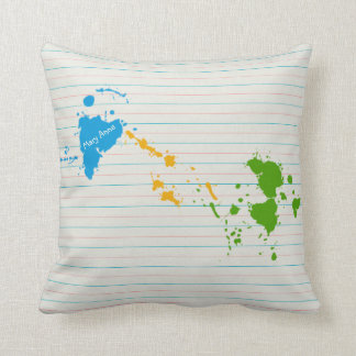 School Paper with Paint Splats & Your Name Throw Pillow