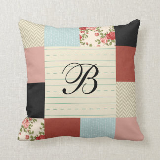 School Patchwork with Monogram Throw Pillow