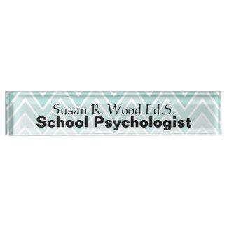 School Psychologist Aqua Ombre Design Nameplate
