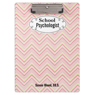 School Psychologist Custom Name Chevron Clipboard