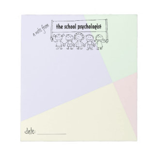 School Psychologist Note Pad With Kid Banner