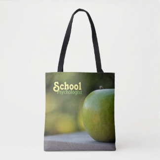 School Psychologist's Green Apple Tote Bag