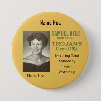 School Reunion Then and Now Photo Badge 3 Inch Round Button