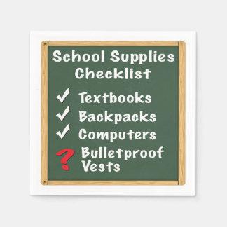 School Safety Supplies Checklist Napkin