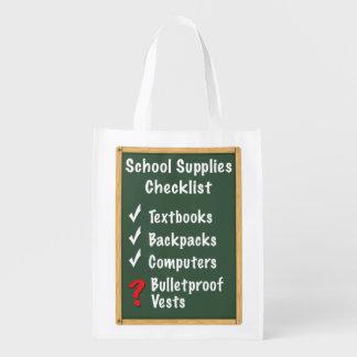 School Safety Supplies Checklist Reusable Grocery Bag